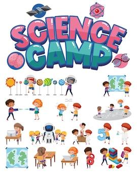 Science camp logo und satz von kindern