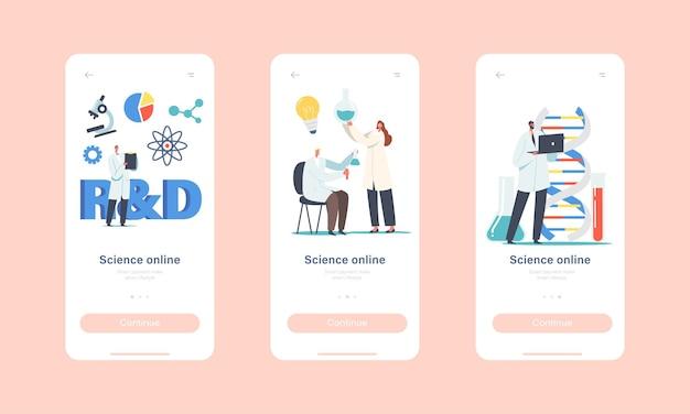 Science online mobile app-seite onboard-bildschirmvorlage. charaktere von medizinwissenschaftlern, die mit dna-struktur arbeiten