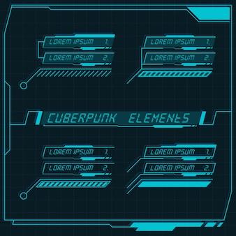 Scifi futuristische control panel sammlung von hud-elementen gui vr ui design cyberpunk retro-stil