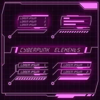 Scifi futuristische panel-sammlung von hud-elementen gui vr ui-design cyberpunk neonglühen retro-stil