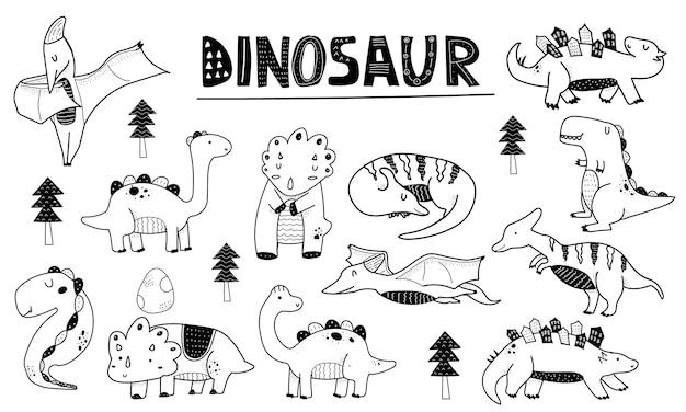 Scininavian style dinosaur outline