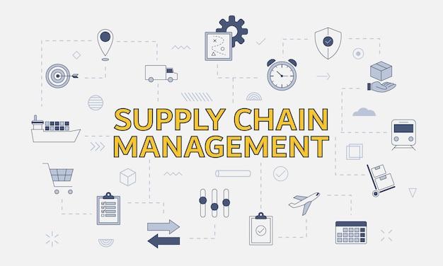 Scm supply chain management-konzept mit icon-set mit großem wort oder text in der mitte