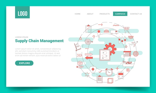 Scm supply chain management-konzept mit kreissymbol für website-vorlage oder zielseiten-homepage-vektorillustration
