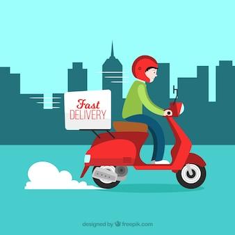 Scooter lieferung in der stadt