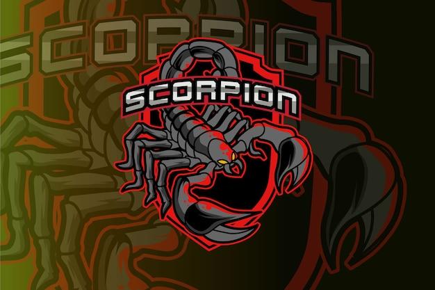 Scorpion-logo für sportverein oder team. tier maskottchen logo.