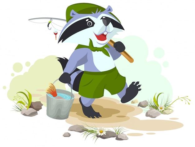 Scout geht angeln. waschbärspäher trägt einen eimer fisch. fischer mit angelrute