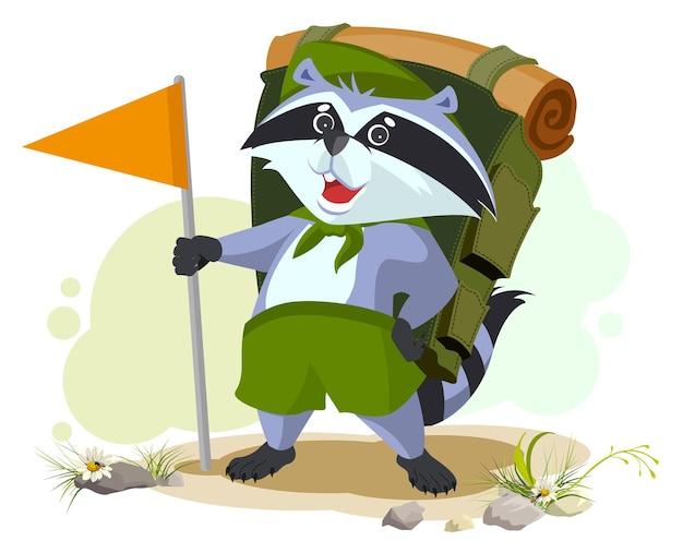 Scout waschbär mit rucksack geht campen. sommercamping. karikaturillustration