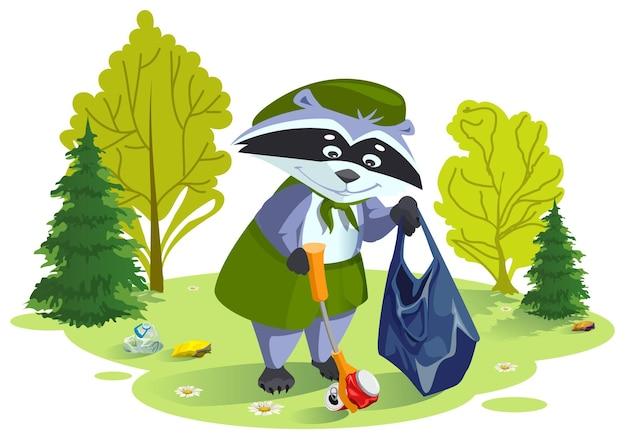 Scout waschbär sammelt müll im wald. pflege für die natur.