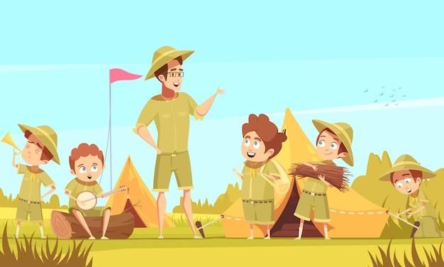 Scouting boys mentor führt abenteuer und überlebensaktivitäten im freien in kampierendem retro-karikaturplakat durch