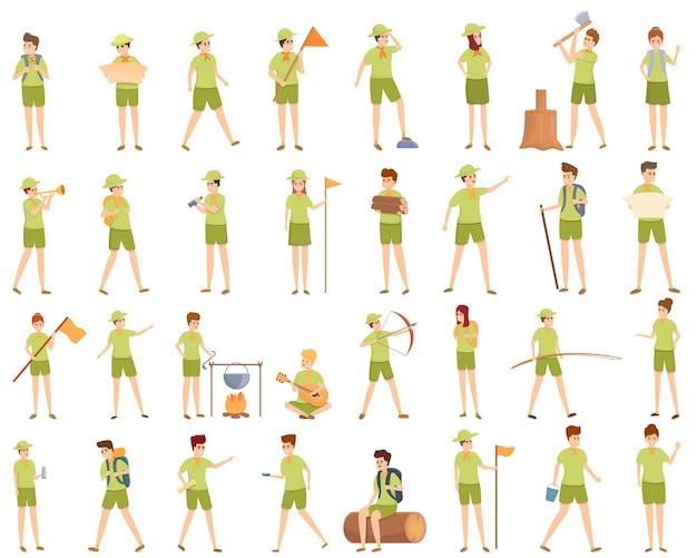 Scouting-symbole gesetzt. cartoon-satz von scouting-vektorsymbolen für webdesign