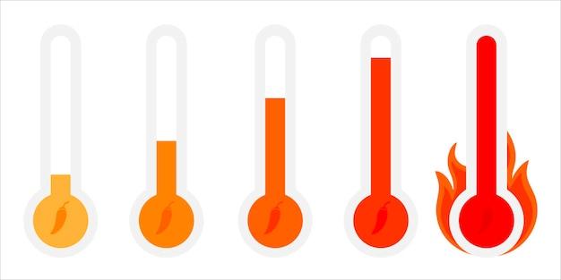 Scoville-pfeffer-hitzeskala von niedrig bis sehr scharf, scharf, flacher vektor