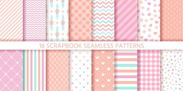 Scrapbook nahtloses muster. geometrische texturen gesetzt. pastellfarben illustration.