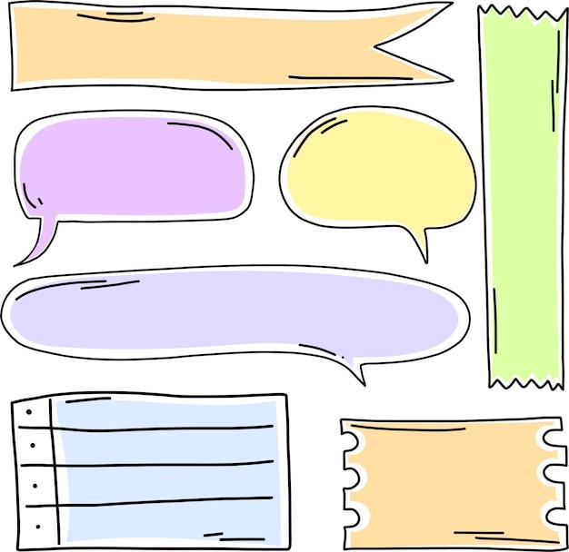 Scrapbooking-präsentation sprechblasen wolken in zarter farbpalette leerer nachrichtenaufkleber