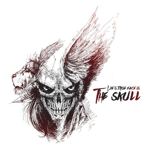 Scratch devil skull mit löwengesicht vampir
