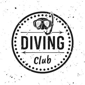 Scuba diving club monochromes rundes emblem, etikett, abzeichen oder logo-vektor-illustration auf dem hintergrund mit abnehmbaren grunge-texturen