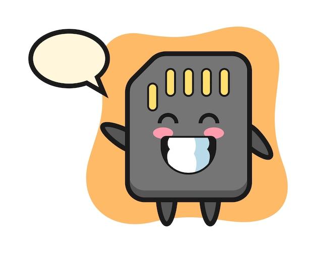 Sd-karten-zeichentrickfigur, die wellenhandgeste tut, niedliches artdesign für t-shirt