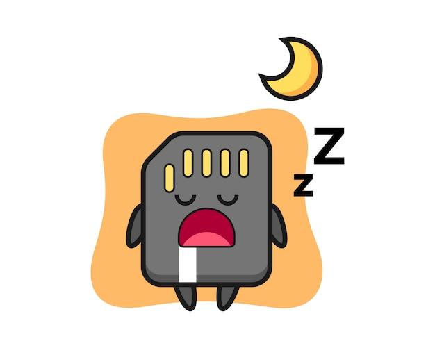Sd-kartencharakterillustration, die nachts schläft, niedliches artdesign für t-shirt