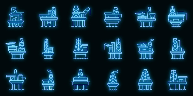 Sea bohrinsel icons set vektor neon