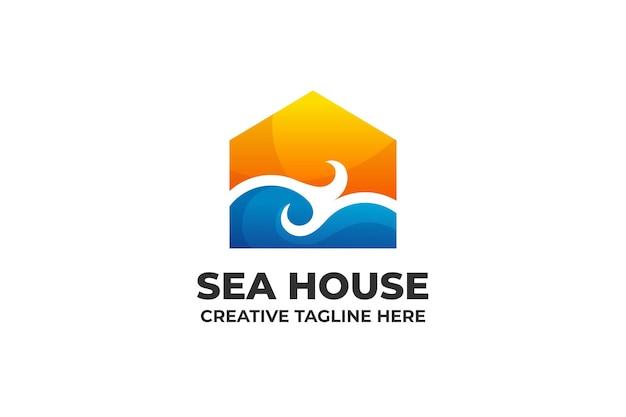Sea house building logo mit farbverlauf