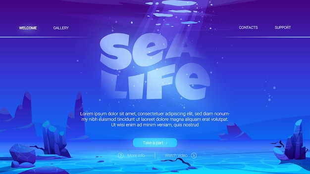Sea life cartoon landing page