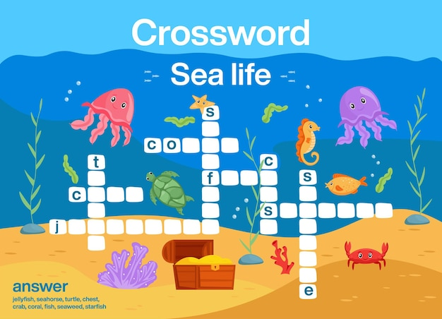 Sea life kreuzworträtsel-bildungsaktivität für kinder