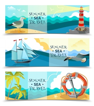Sea nautical horizontal banner