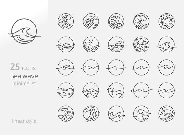 Sea wave line art minimales element vector illustration kreativität alphabet line wave design-konzept