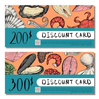Seafood shop rabatt kartensatz