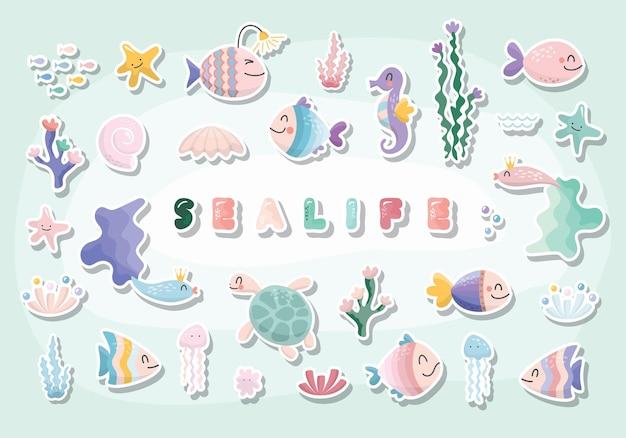 Sealife cartoons eingestellt. nette fischcharakter-sammlung für kinder