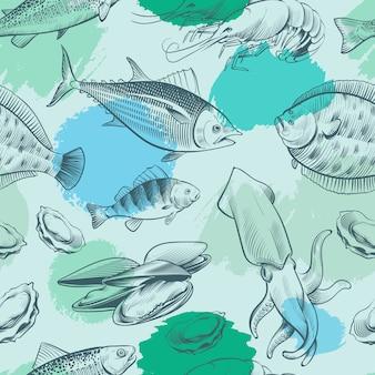 Sealife nahtloses muster mit grunge-elementen. ozeanbeschaffenheit mit fisch, muschel, tintenfisch
