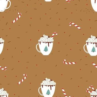 Seamless cup schokolade mit candy cane und schlagsahne