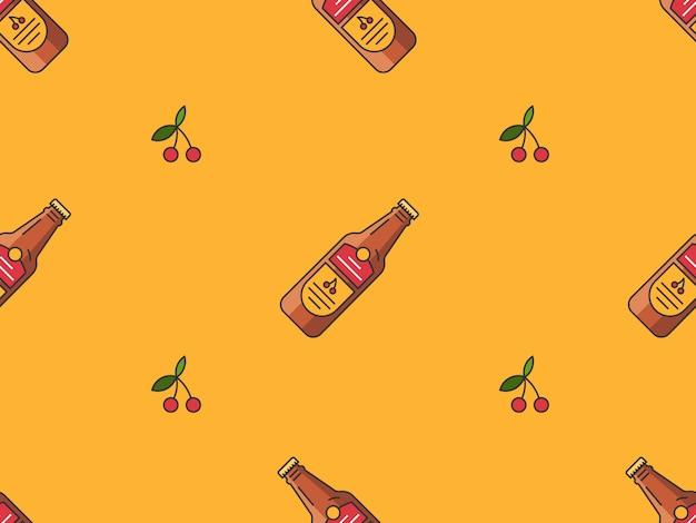 Seamlesspattern mit kirschbierflaschen