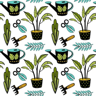 Seanless vektorgartenmuster mit topfpflanzenschere gießkanne doodle hintergrund