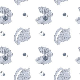 Seashell seamless pattern in einer strichzeichnung. hand gezeichneter vektorseeozeanhintergrund mit muscheln und perle. perfekt für textilien, tapeten und drucke