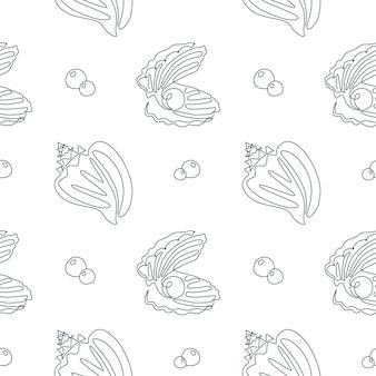 Seashell seamless pattern in einer strichzeichnung. vektorozeanhintergrund mit schattenbildmuscheln und -perle. perfekt für textilien, tapeten und drucke