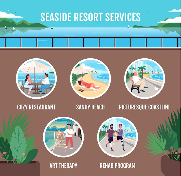 Seaside resort dienstleistungen flache farbvektor informative infografik vorlage. plakat, broschüre, ppt-seitenkonzeptentwurf mit zeichentrickfiguren.