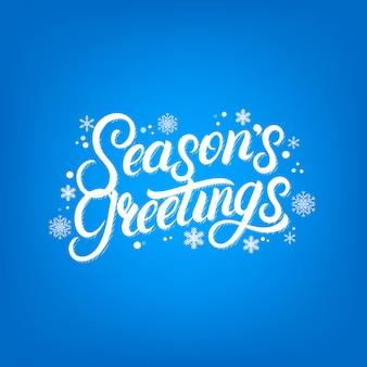 Seasons greetings handgeschriebenes schriftdesign. moderne bürstenkalligraphie für weihnachtskarte.