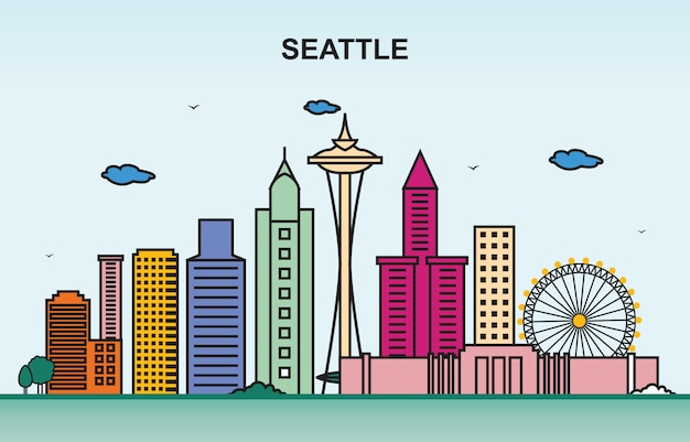 Seattle-stadt-ausflug-stadtbild-skyline-bunte illustration