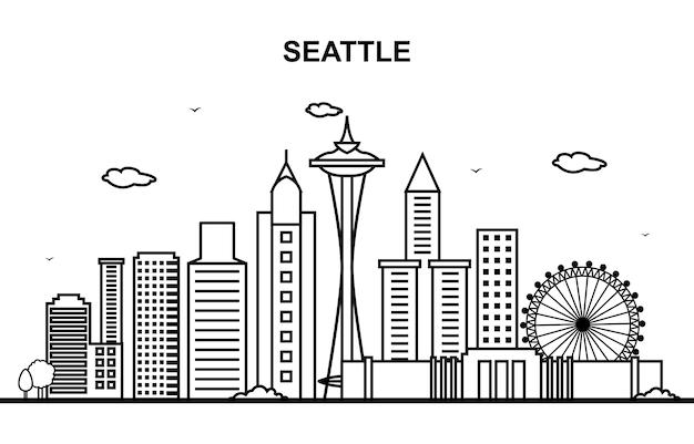 Seattle-stadt-ausflug-stadtbild-skyline-linie umreißen