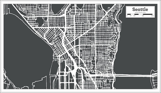 Seattle usa stadtplan im retro-stil. übersichtskarte. vektor-illustration.