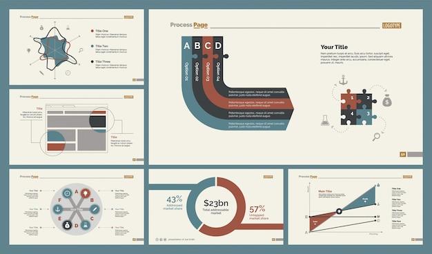 Sechs analysieren von diagrammen folienvorlagen set