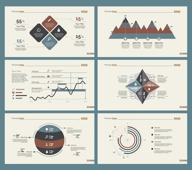 Sechs analytics charts folienvorlagen set