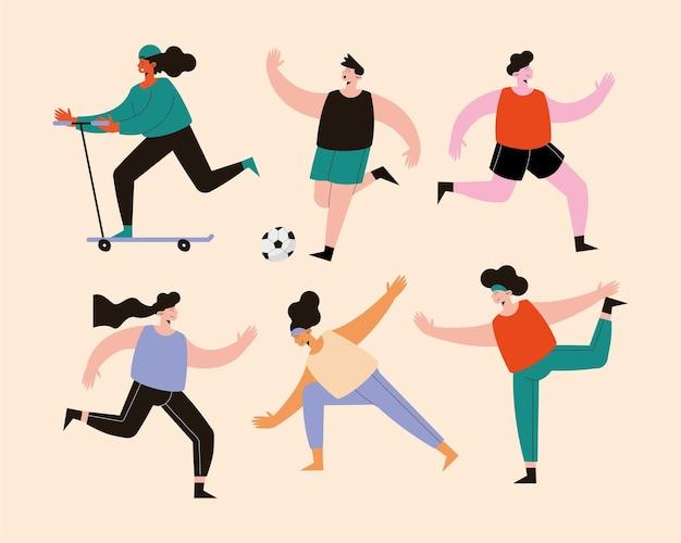 Sechs athleten, die sportfiguren üben