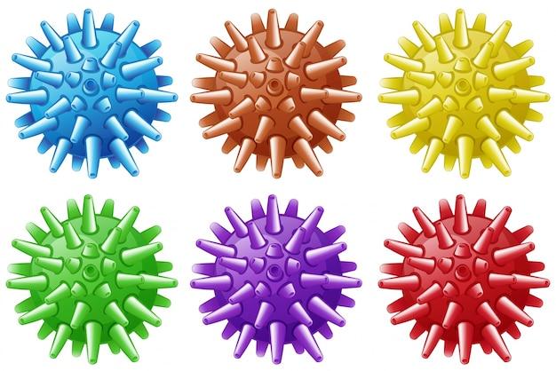 Sechs bälle mit spikes in verschiedenen farben