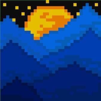 Sechs berge in der nacht mit pixel-art-stil