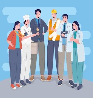 Sechs berufe arbeiter charaktere