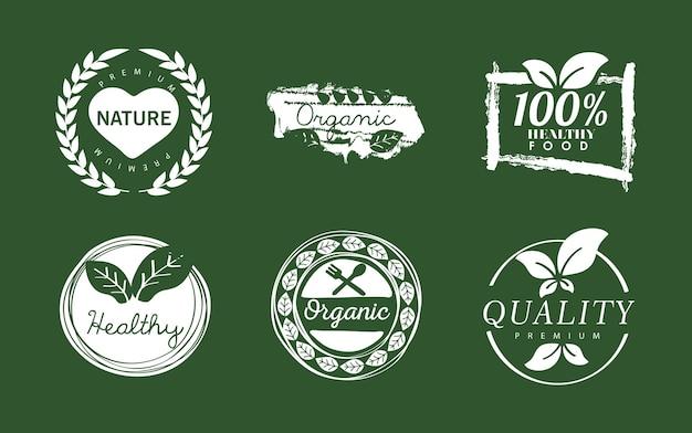 Sechs bio-etiketten