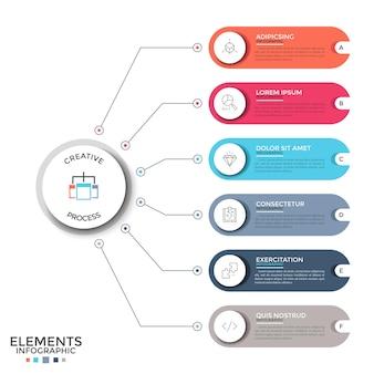 Sechs bunte abgerundete elemente mit linearen zeichen und platz für text im inneren, verbunden durch linien mit weißem papierkreis. konzept von 6 funktionen des projekts. infografik-design-layout. vektor-illustration.