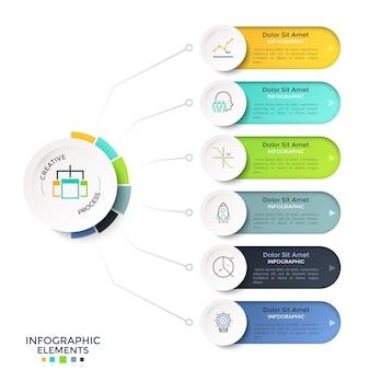 Sechs bunte abgerundete optionen oder merkmale, die durch linien mit dem kreisförmigen hauptelement verbunden sind. kreative infografik-design-vorlage. vektorillustration für projektplan, geschäftsdarstellung.