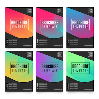Sechs bunte broschüren vorlagen